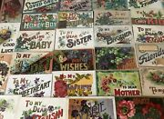Lot Of 32 Vintage Greetingspostcards W.large Letter Wordsto Dearfamily-k141