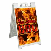 Slow Smoked Bbq Signicade 24x36 Aframe Sidewalk Sign Banner Decal Food Barbecue