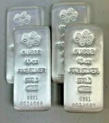 Lot Of 4 Silver 10 Oz Silver Pamp Suisse Silver Cast .999 Fine Silver Bars