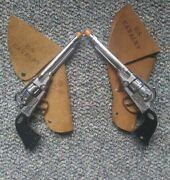 2 Vintage Halco Colt 45 Die Cast Cap Guns With Holsters Both Work Great See Pics