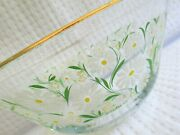 Vtg Mid Century 60s 70s Flosigned Culver Embossed Daisy Daisies Large Glass Bowl