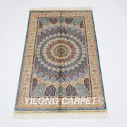 3and039x5and039 Handmade Silk Carpet Medallion Home Office Indoor Durable Area Rug Z513a