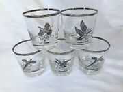 Vintage Ned Smith Wild Game Bird Low Ball Whiskey Rocks Glasses Silver Rimed
