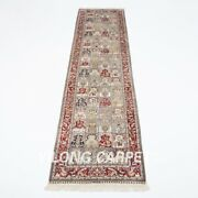 2.5and039x10and039 Handknotted Silk Rug Runner Garden Scene Living Room Carpet Z611a
