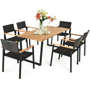 Costway 7pcs Patio Rattan Dining Chair Table Set Solid Wood Frame Umbrella Hole