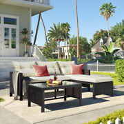 Outdoor Patio 3 Pcs Rattan Wicker Sofa Set, With Lounger Seat, Glass Table🏛️