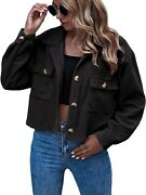 Eteviolet Women's Casual Cropped Corduroy Jackets Button Down Long Sleeve Shirts