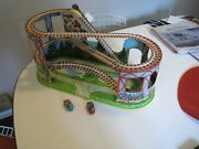 Vintage J. Chein Wind-up Drive Belt Metal Roller Coaster Toy Working W. Two Cars