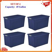 Plastic Storage Containers With Wheels Lid Latch Set 4 Large Blue Bins 45 Gallon
