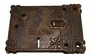 Antique Rl Co Fancy East Lake Victorian Cast Iron Rim Lock Door With Keeper