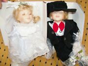 Pair Kissing Porcelain Dolls Ashley Belle Young Love Boy Girl Wedding Authentic