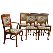 Antique Farmhouse Quartersawn Oak Floral Needlepoint Dining Chairs - Set Of 6