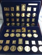 2005 Usps American Presidents Collection Gold Coated Medals And .999 Silver Stamps