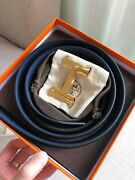 Hermes Double-sided Belt Male Blue/black Size Size 105-42 Suitable For American