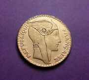 Re-engraved France Silver Gilded 10 Franc Coin 1930 - Winged Cap / Mercury