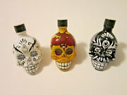 Lot Of 3 Kah Tequila Skull 50 Ml Bottles Black Yellow And White With Lids Empty