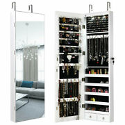 Gymax Wall And Door Mounted Mirrored Jewelry Cabinet Storage Organizer Black/white