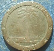 1862 Liberia 2 Cents Km 4 Capped Head Palm Tree 1 Year Type Nice 725
