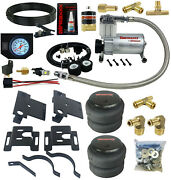Air Helper Spring Load Level Kit W/white Gauge For 2001-2010 Chevy 3500 Truck