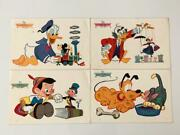 Disney 1961 Placemat Set Of 4 Donald Duck Mickey Mouse Mary Poppins Pinnochio