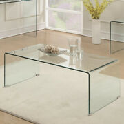 Contemporary Style Minimal Clear Glass Coffee Table Clear