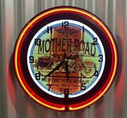 Harley Davidson Motorcycles Route 66 Mother Road 14 Inch Dia Neon Clock Sign