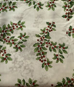 Lenox Christmas White Holly And Berry Tablecloth 120 X 60