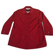 Lane Bryant Womenandrsquos Coat Red Vented Button Up Two Pockets Size 14/16 No Belt