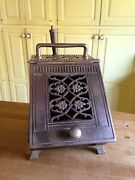 Antique Ornate Nickel And Tin Coal Scuttle With Shovel And Tin Liner Fireplace Box