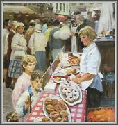 Old Big Oil Painting /at The Bakery Counter/ Socialist Realism 41=1m Signed