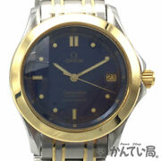 Omega 2301.80 Seamaster 120m Automatic Chronometer Ss K18 Combination Navy Dial