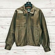 Vintage Pur Robinsonand039s Menand039s M/medium Classic Brown Flight Leather Bomber Jacket