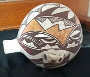 Antique Acoma Pottery Hopi Water Canteen Early Piece Rare And Amazing