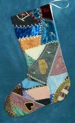Awesome Antique Vintage Crazy Quilt Christmas Stocking Cutter Quilt Cq97