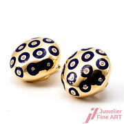 Ear Clips - 18k Yellow Gold - Blue Enamel Diamonds Together Approx. 025 Ct Tw /