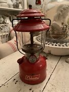 Vintage Coleman Red Lantern 200a Aug 1966 Sunshine Of The Night Pyrex Glass