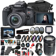 Canon Eos Rebel T8i Camera W/ 18-55mm And Ef-s 55-250mm Lenses - Pro Bundle