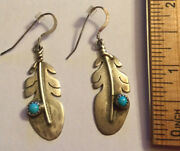 Vintage Navajo Hopi Sterling Silver Feather Turquoise Earrings -signed Sk 2andrdquo