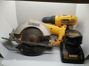 Dewalt Dw939 18v Cordless Circular Saw And Drill Dc759 W/ Battery Blade And Charger