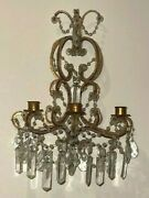 Antique Venetian Style Crystal Beaded Chandelier Wall Sconces 19th C Candles