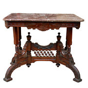 Antique Eastlake Victorian Carved Walnut Marble Top Occasional Side Table
