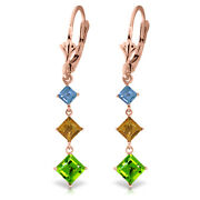 14k Rose Gold Chandelier Earrings With Blue Topaz, Citrines And Peridots