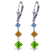 14k White Gold Chandelier Earrings With Blue Topaz, Citrines And Peridots