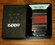 Brand New Zippo Pipe Lighter - Steel And Wood On Polished Chrome - New, Free Post