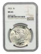 1923 1 Ngc Ms65 - Peace Silver Dollar