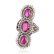 Beautiful Ruby Pave Diamond 18k Gold Sterling Silver Long Ring Jewelry Gift