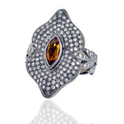 0.99ct Citrine Pave Diamond .925 Sterling Silver Vintage Look Ring Women Jewelry