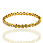 18kt Solid Yellow Gold 11.15ct White Sapphire Indian Ethnic Look Bangle Jewelry