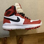 Authentic Nike Air Jordan Retro 1 Golf Shoes Size 11 Chicago Red Worn Twice.