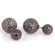 Black Diamond Pave 18kt Gold Double Ball Stud Earrings Sterling Silver Jewelry